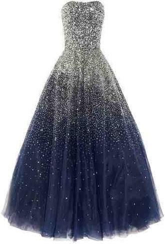 dress sparkle midnight blue gown gala galaxy dress