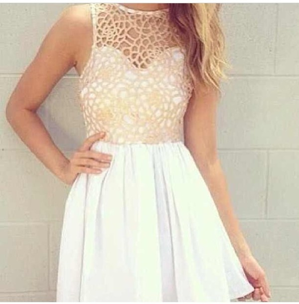 dress beige dress white dress pretty wanted cute celebrity style dress