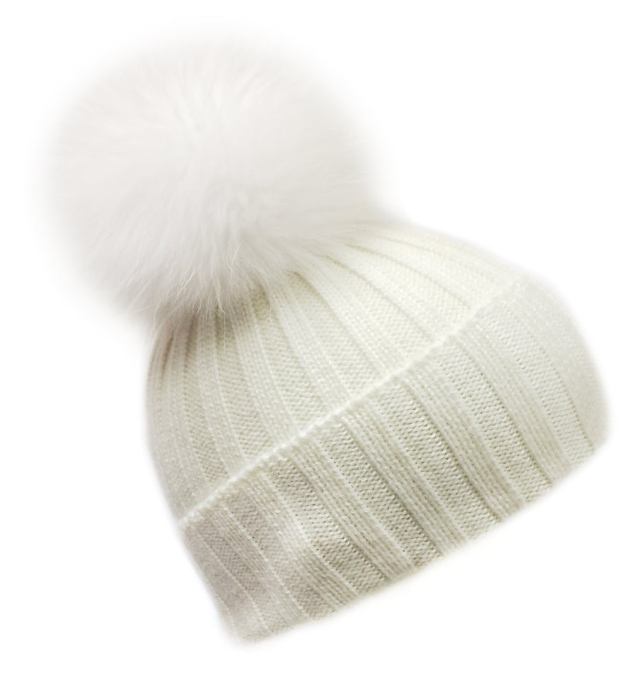 **LIMITED EDITION** White On White Fur Bobble Hat - Hats