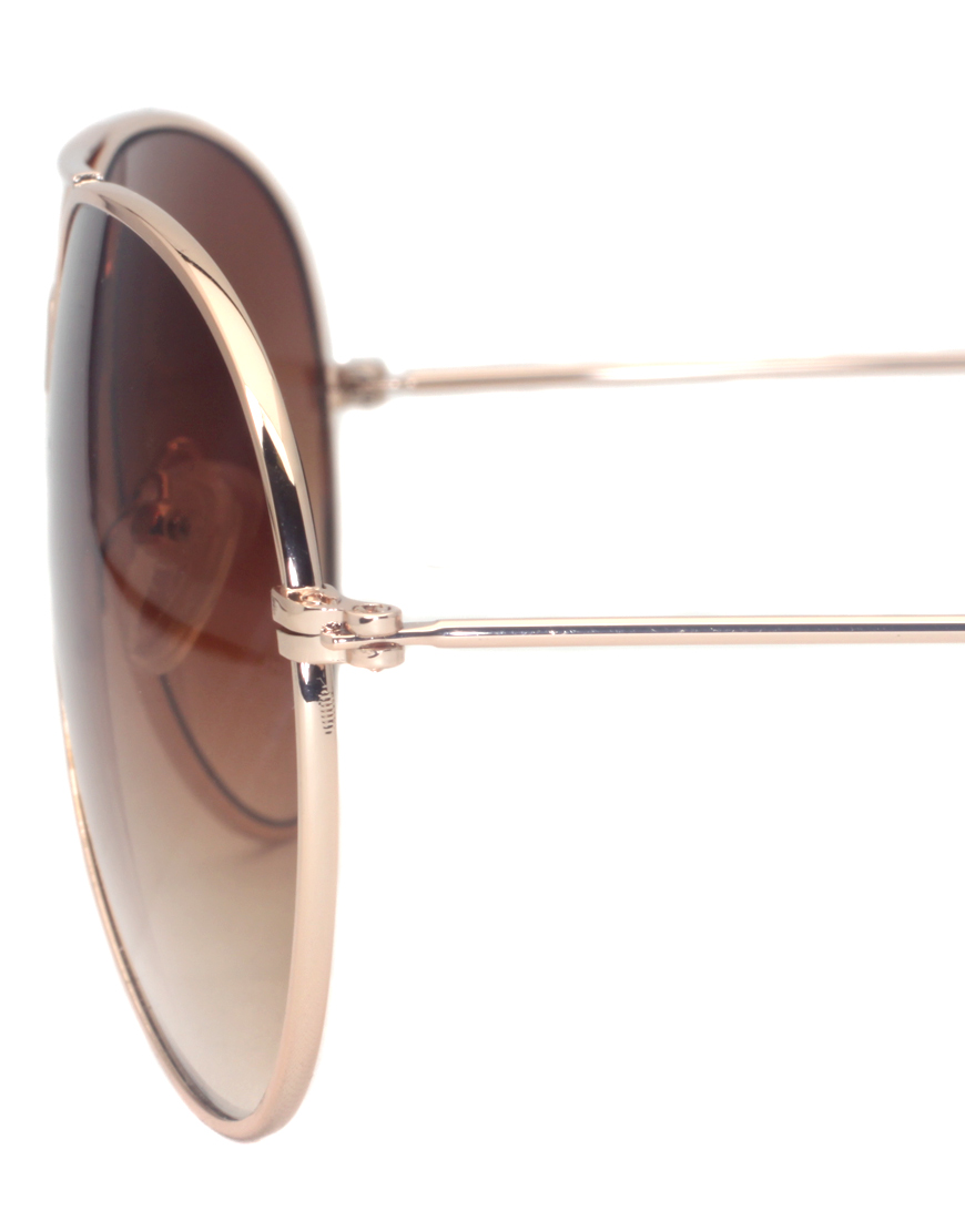 ASOS Gold Aviator Sunglasses at asos.com