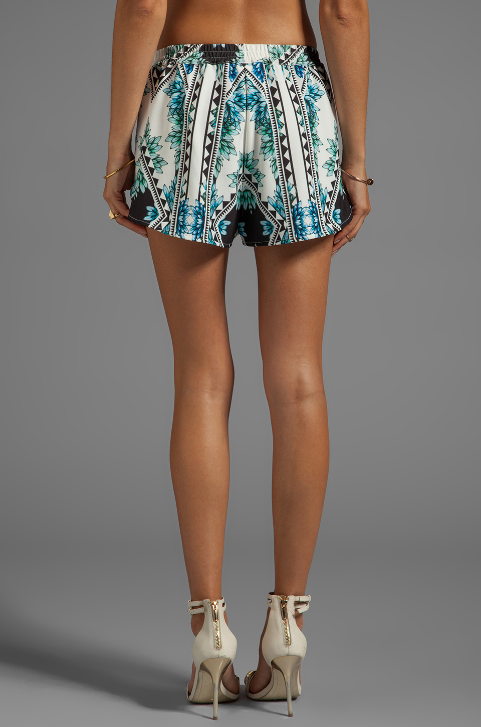 Finders Keepers Wonderful Remark Shorts in Aztec Floral Print Blue & Black | REVOLVE