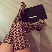 shoes,black,black thigh high heels,criss cross,black heels,dsquared2,style,high heels,gladiators,boots,Xenia,studs,sandals