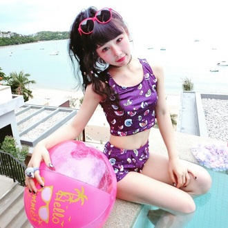 swimwear pastel style kawaii kawaii grunge kawaii dark creepy kawaii japan harajuku japanese fashion sunglasses bikini top jewels kawaii outfit kawaii punk pop punk purple