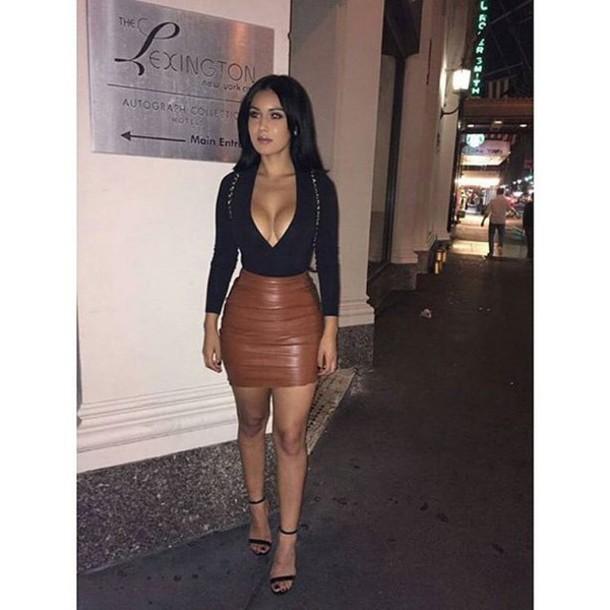 Skirt: black leather skirt, leather jacket, black heels ...