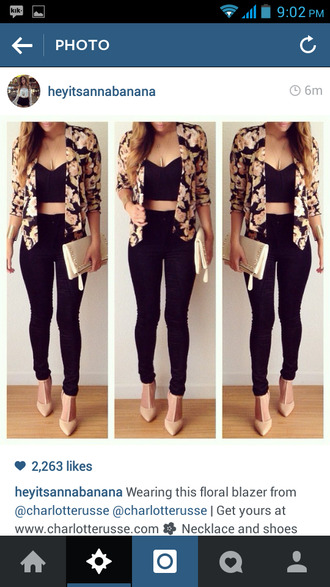 shoes black top cardigan jacket classy blonde hair blouse flowers charlotte russe jewels floral blazer heels shirt