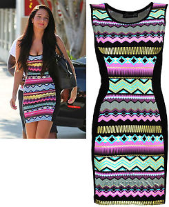 WOMENS NEW CELEBRITY TULISA JADE AZTEC BODYCON STRETCH MINI DRESS SIZE UK 8-14 | eBay