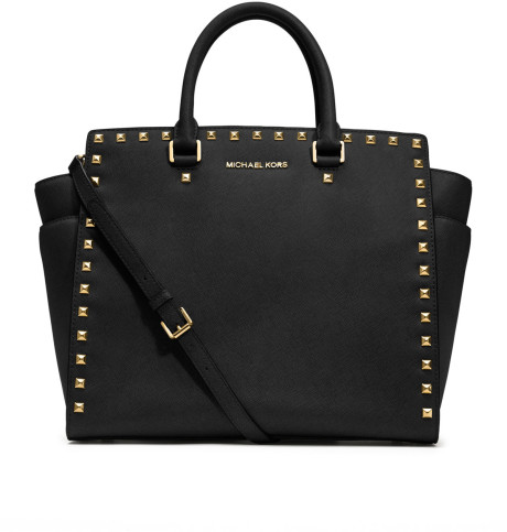 664c9cf52caa Michael By Michael Kors Large Selma Studded Saffiano Tote in Black | Lyst