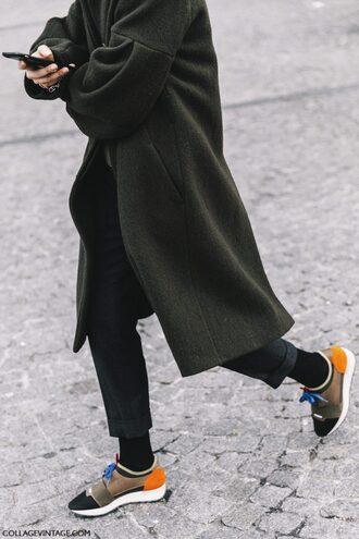 coat tumblr fashion week 2017 strappy heels green coat pants cropped pants socks grey coat sneakers
