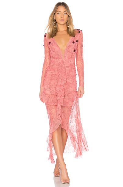 For Love & Lemons dress midi dress midi daisy lace pink