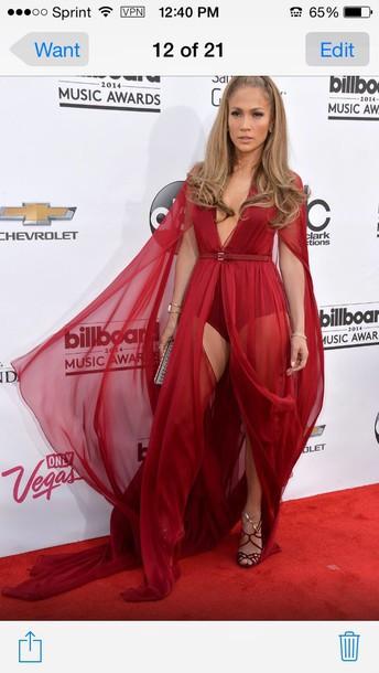 dress red split flank chiffon dresss
