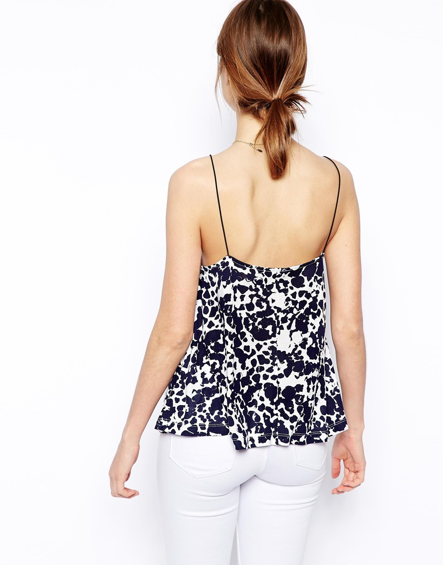 ASOS Swing Cami Top in Blurred Animal at asos.com