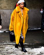 coat,tumblr,yellow,yellow coat,long coat,fur coat,hat,beret,tights,boots,black boots,flat boots,bag,black bag,oversized,oversized coat,nyfw 2017,fashion week 2017,fashion week,streetstyle