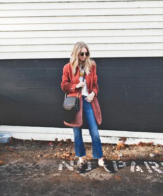 coat tumblr red coat bag black bag crossbody bag jeans denim kick flare sunglasses loafers