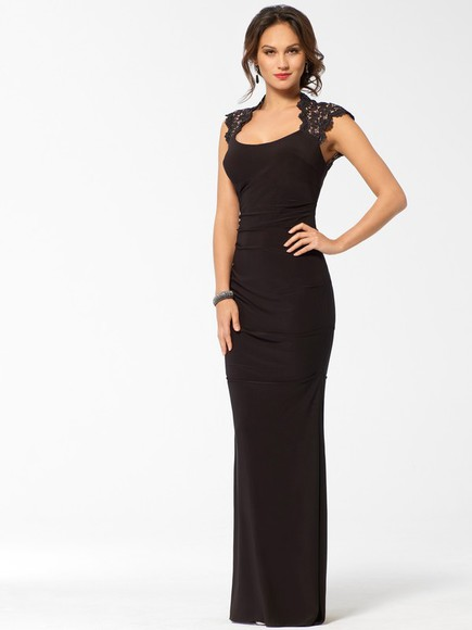 dress black classy gown elegant lace prom long evening dresses mermaiddress help?