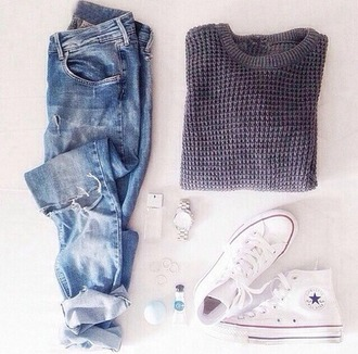 jeans boyfriend jeans converse pullover shoes sweater