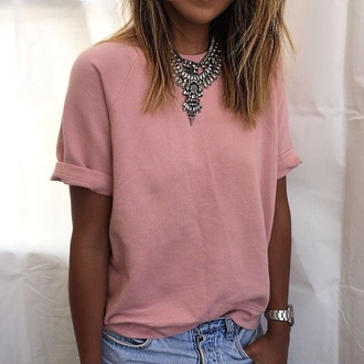 jewels necklace silver shirt pink baby pink pale