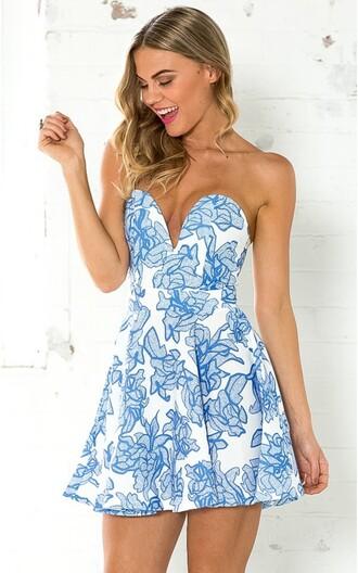 dress pleated blue floral floral dress showpo