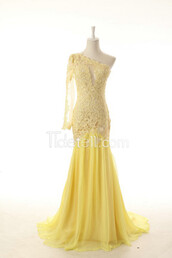 dress,tidetell dress,prom dress,yellow lace,mermaid lace prom dress,one shoulder prom dress,one sleeved evening dress,long prom dress,long evening dress,yellow,light yellow,lace prom dress,illusion prom dress