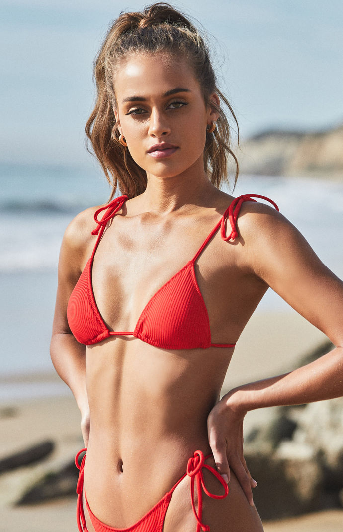 Red Playa Tied Up Bralette Bikini Top