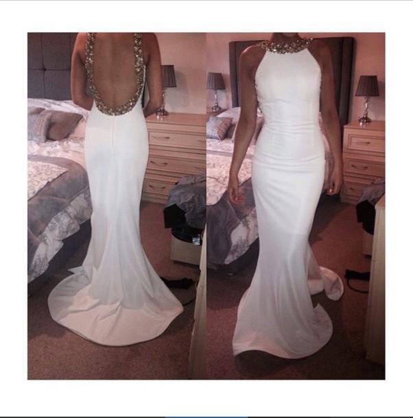 dress prom dress evening dress homecoming dress white dress white maxi dress backless dress