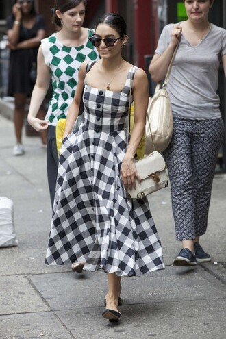 dress vanessa hudgens maxi dress black and white dress summer summer dress gingham