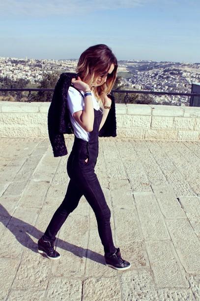 lilissss blogger denim overalls white t-shirt wedge sneakers jeans jacket t-shirt shoes sunglasses