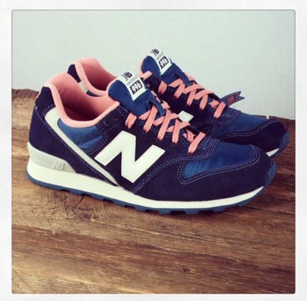 shoes new balance pink dark blue sneakers fashion white