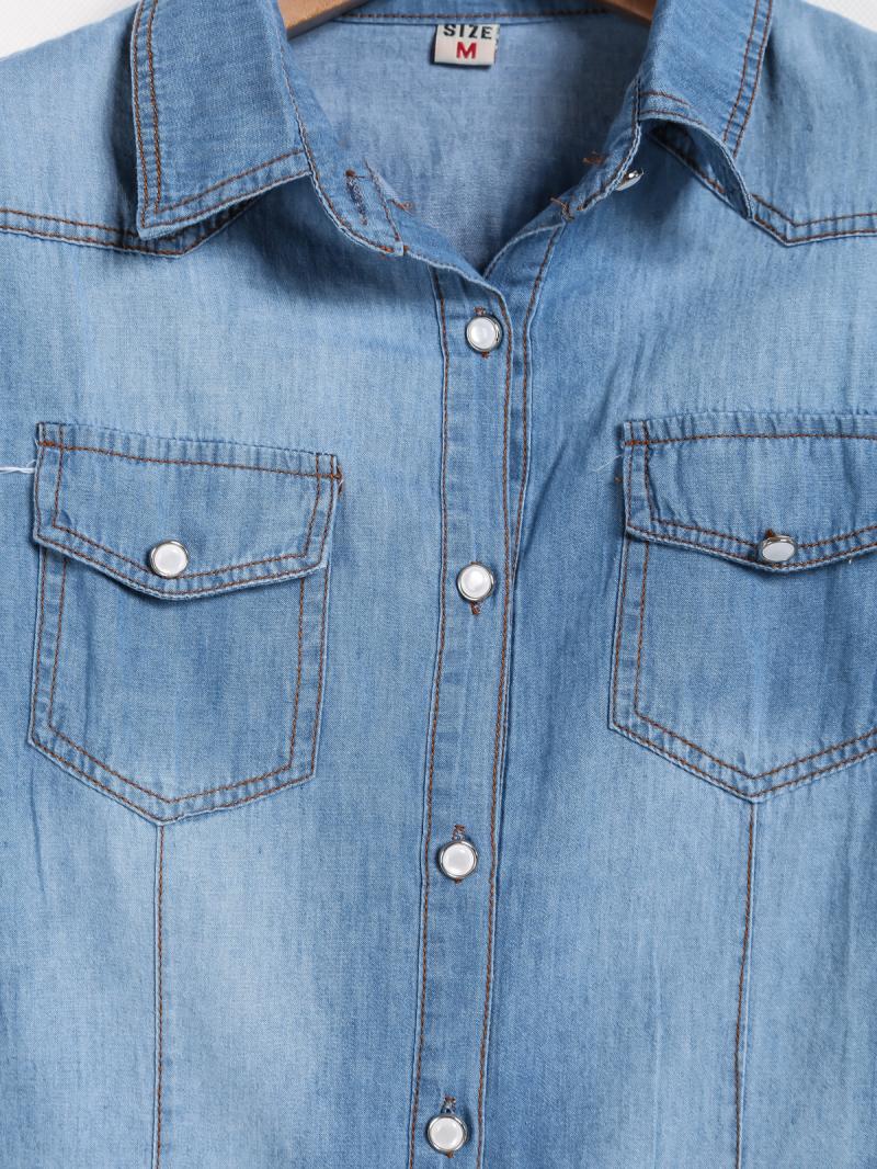 Blue Lapel Long Sleeve Bleached Pockets Denim Blouse - Sheinside.com