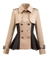 tan coat,peplum coat,double breasted coat,button detail,buckle cuffs,buckle detail,plaid panels,tan and plaid,www.ustrendy.com