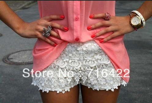 Hot sell ! saia brand mid waist crochet lace patchwork single shorts women 2013 renda plus size shorts casual women short-inShorts from Apparel & Accessories on Aliexpress.com