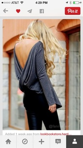 blouse,top,wrap top,grey,open back