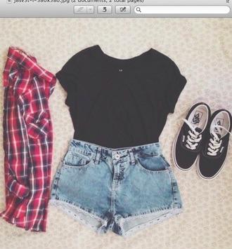top black top shoes button up blouse shorts