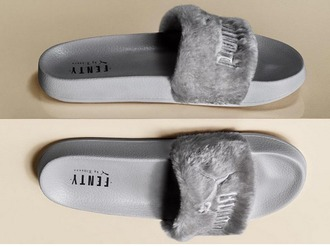 shoes puma puma x rihanna rihanna pumas fur fur slippers fur slides grey slide shoes