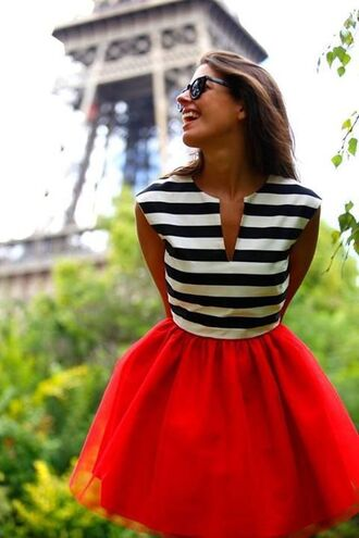 dress black and white stripes red puffy bottom romantic skirt outfit stripes red skirt top love blue white bag shirt