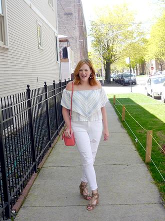 kristinadoestheinternets blogger shirt sunglasses jeans shoes bag jewels shoulder bag white jeans sandals off the shoulder top spring outfits