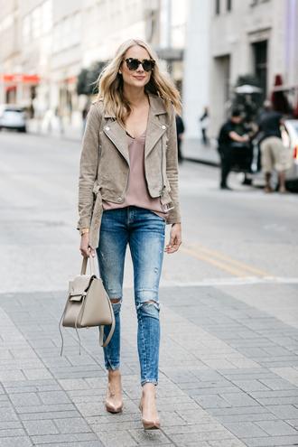 fashionjackson blogger jacket tank top jeans shoes bag sunglasses jewels