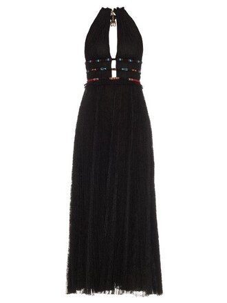 gown pleated embellished lace black dress