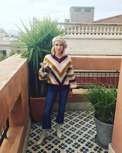 sweater stripes striped sweater emma roberts instagram fall outfits fall sweater denim