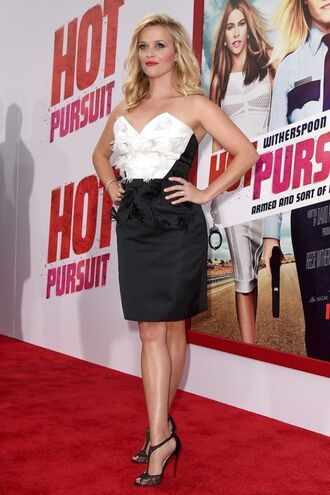 dress strapless reese witherspoon sandals black and white shoes bustier dress black and white dress