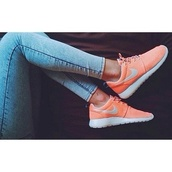shoes,orange,nikes,nike roshe run,bright,coral,sneakers,nike running shoes,colorful,happy,party,sporty,fashion,lovely pepa,wow,wonderful,jeans,nike sneakers,nike