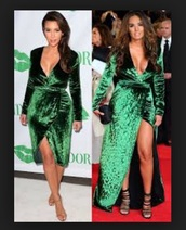 dress,emerald green,wrap dress,velvet dress,kim kardashian,vanessa bryant,green long dress