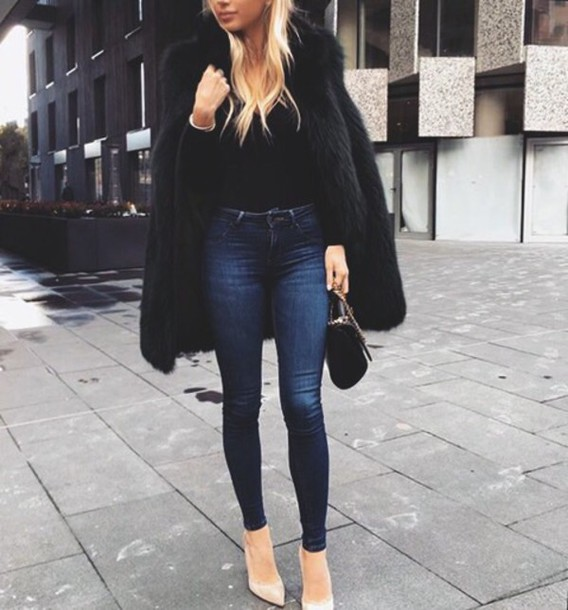 Winter outfits with black skinny jeans