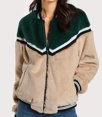 jacket girly fur fur coat fur jacket bomber jacket zip zip-up
