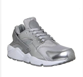 shoes silver metallic sneakers nike huaraches nail polish