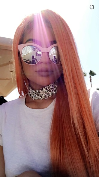 sunglasses kylie jenner pink mirrored sunglasses choker necklace hair dye hair white top coachella glasses sunnies accessories accessory keeping up with the kardashians coachella 2016 festival music festival jewels kardashians kylie jenner choker silver choker kylie jenner jewelry