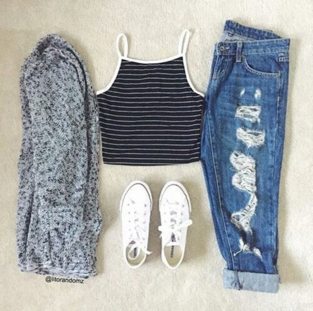 Top Fashion Clothes Tumblr Outfit Converse Ripped Jeans Crop Tops Cardigan Tumblr