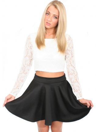 White long sleeve lace crop