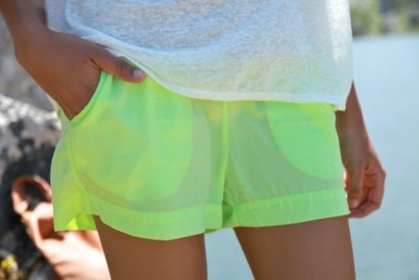 shorts fluo yellow green bright cotton short summer