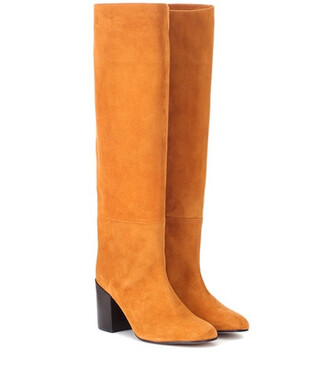 knee-high boots high suede brown shoes
