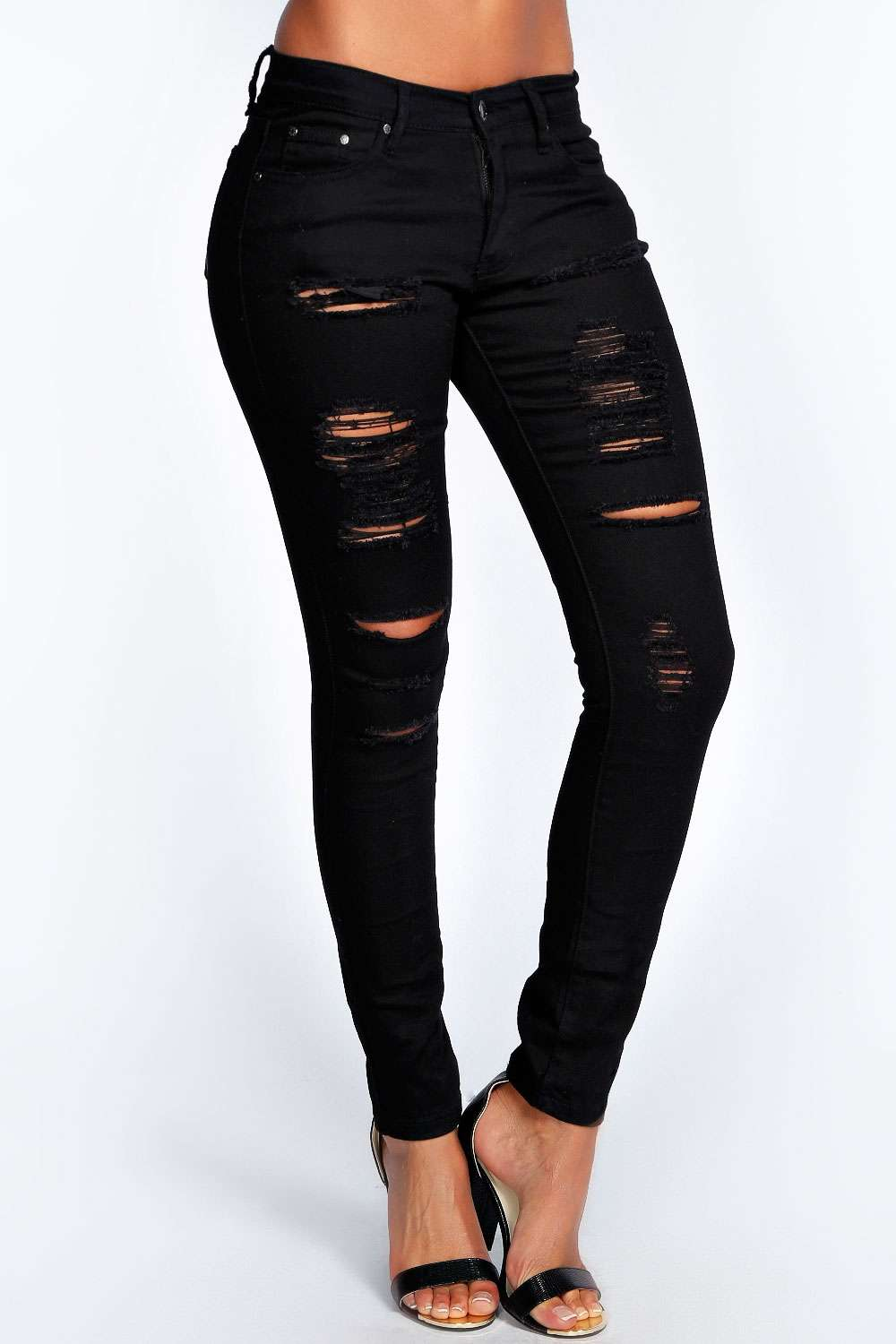 ripped distressed black skinny jeans - Jean Yu Beauty